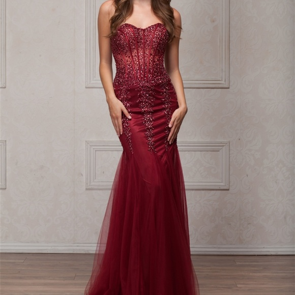b888be90ceff PROM BEADED SWEETHEART DRESS GOWN AC774 BURGUNDY. Boutique. AMELIA